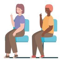 felice donna e uomo cartone animato seduto su sedili disegno vettoriale
