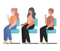 cartoni animati di donne e uomini felici seduti sui sedili disegno vettoriale