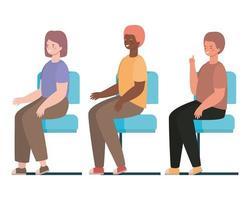cartoni animati di uomini e donne felici seduti sui sedili disegno vettoriale