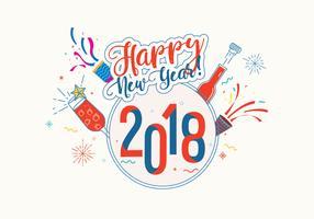 Felice anno nuovo sfondo 2018 vettoriale