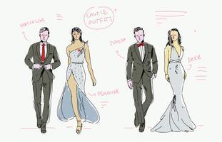 Illustrazione disegnata a mano di vettore di schizzo del modello di moda delle coppie del vestito e dello smoking