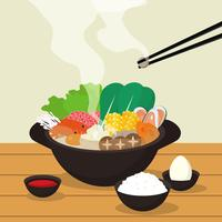 Hotpot e ingredienti illustrazione