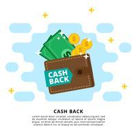 illustrazione vettoriale di contanti indietro
