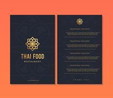 Modello di menu ristorante cibo tailandese vettore