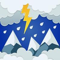 Arte della carta della montagna piovosa