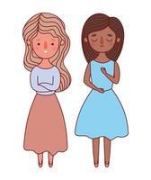 due donne avatar cartoni animati disegno vettoriale