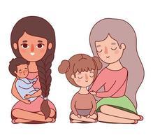 madri con disegno vettoriale bambino e figlia