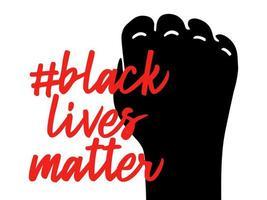 Non riesco a respirare slogan le vite dei neri contano. pugno di protesta serrato nero vettore