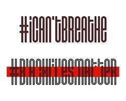 Non riesco a respirare e le vite nere contano. banner di protesta sui diritti umani dei neri negli Stati Uniti d'America. illustrazione vettoriale. icona poster e simbolo.