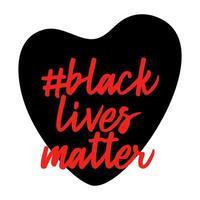 le vite nere contano. a forma di cuore. no al razzismo. violenza della polizia. fermare la violenza. illustrazione vettoriale piatta per banner, poster e social network