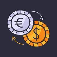 cambio valuta mano disegnare doodle icona piana di affari. icona di denaro dollaro ed euro in stile cartone animato vettore