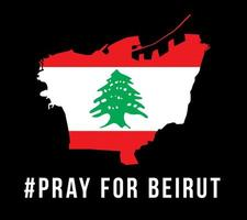 prega per l'illustrazione vettoriale di beirut con mappa di beirut su sfondo nero concetto di preghiera, lutto, umanità per beirut libano massiccia esplosione