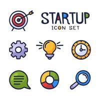 avvio del fumetto disegnato a mano o icone di doodle di vettore relative all'attività messe. contiene icone come lampadina, obiettivo, grafico e altro.