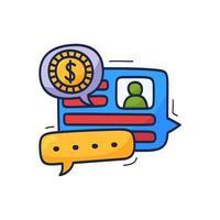 parlare di soldi e finanza è un'illustrazione vettoriale. cartone animato doodle concetto chat, conversazione, dialogo su soldi e affari