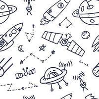 design di stampa del modello senza cuciture dello spazio. doodle illustrazione vettoriale design per tessuti di moda, grafica tessile, stampe.