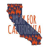 illustrazione a sostegno della california meridionale dopo un incendio. mappa dello stato della california, fiamma e testo california. vettore