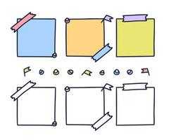 carta da lettere disegnata a mano colorata. foglio di carta impostato in stile doodle isolato su sfondo bianco, pezzi di pagine di taccuino pastello, illustrazione di vettore di adesivi blocco note