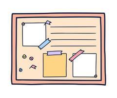 illustrazione di doodle disegnato a mano di bacheca, aghi e fogli di nota vuoti vettore
