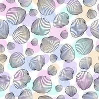 modello di conchiglia senza soluzione di continuità. illustrazione vettoriale di conchiglie disegnate a mano in stile doodle. design della spiaggia.