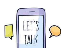parlare del concetto di chat telefonica. parlare del logo dell'applicazione, telefono cellulare con chat. illustrazione vettoriale stile doodle.