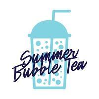 Bubble tea in vetro di plastica piatto icona vettore isolato su sfondo bianco. modello di vettore di tè estivo per logo design, banner, poster, flyer, adesivo, menu di bevande per bar, caffetteria, ristorante.