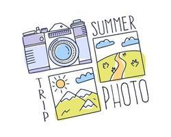 concetto di viaggio nel mondo. doodle macchina fotografica e famosi punti di riferimento foto foto disegno stile illustrazione vettoriale