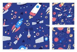 imposta il design di stampa del modello senza cuciture dello spazio. disegno di illustrazione vettoriale di doodle piatto del fumetto per tessuti di moda, grafica tessile, stampe.