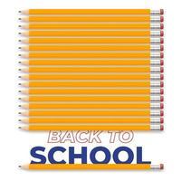 torna a scuola design illustrazione creativa con matita e testo realistici. disegno vettoriale