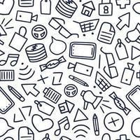 divertente modello senza cuciture con diverse icone di doodle ed elementi creativi. illustrazione disegnata a mano di vettore