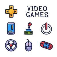 set di icone vettoriali doodle relative ai giochi per computer. joystick, controller di gioco, computer e laptop. dispositivi elettronici