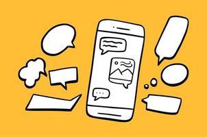 fumetto e telefono. disegnato a mano di smartphone. illustrazione vettoriale chat o concetto di dialogo in stile doodle su sfondo giallo