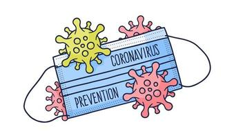 maschera di protezione medica covid 19 coronavirus con illustrazione di progettazione doodle vettoriale stile disegnato a mano