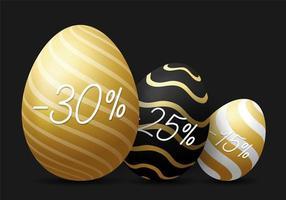 banner orizzontale di vendita di uova di Pasqua di lusso. carta di Pasqua dorata con tre uova realistiche, uova decorate d'oro su sfondo nero moderno. illustrazione vettoriale. posto per il tuo testo