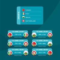 Gruppo di fase finale del torneo di calcio 2020 un'illustrazione di riserva di vettore con il programma delle partite. Torneo europeo di calcio 2020 con sfondo. bandiere del paese di vettore