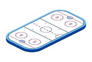 pista di hockey su ghiaccio isometrica, illustrazione vettoriale. Arena di hockey 3d vettore
