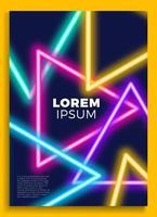 poster al neon, design retrò, motivo sci-fi anni '80, sfondo futuristico. modello di volantino. forme, movimento, illustrazione vettoriale astratta, geometrica per invito a una festa musicale, banner minimalista, stampa 1980.