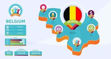 Mappa isometrica dell'illustrazione di vettore del paese del Belgio. infografica e informazioni sulla nazione della fase finale del torneo di calcio 2020. colori e stile ufficiali del campionato