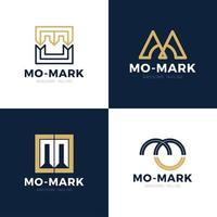 unico moderno creativo elegante artistico nero e oro colore mo om mo iniziale lettera base icona logo set