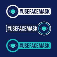 utilizzare la prevenzione della maschera facciale dell'illustrazione di vettore dell'autoadesivo dell'icona covid-19. distintivo di protezione del coronavirus con icona del cerchio piatto.