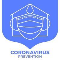 prevenzione di covid-19 all in one icon poster vector illustration. volantino di protezione del coronavirus con set di icone di contorno. stare a casa, usare una maschera per il viso, usare un disinfettante per le mani