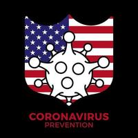 immune dall'icona del germe dell'influenza, protezione dai virus, scudo igienico, bandiera degli Stati Uniti e prevenzione batterica, simbolo web di linea sottile su sfondo bianco - illustrazione vettoriale di corsa modificabile