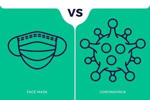 banner icona maschera facciale vs o contro il concetto di coronavirus protezione covid-19 segno illustrazione vettoriale. sfondo di progettazione di prevenzione covid-19. vettore