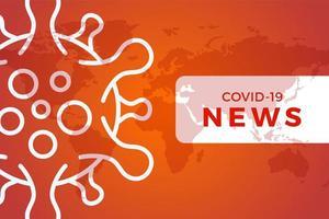 banner del titolo delle ultime notizie covid-19 o coronavirus nel mondo. coronavirus nell'illustrazione vettoriale di wuhan. poster rosso o arancione con mappa del mondo