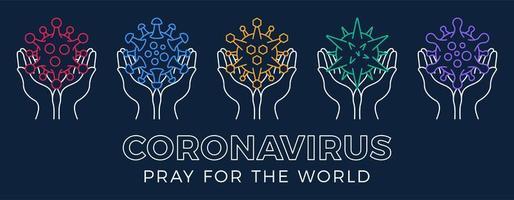 impostare pregare per il concetto di coronavirus mondiale con illustrazione vettoriale mani.