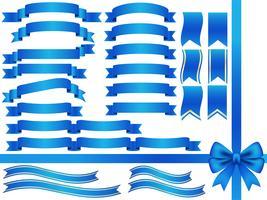 Una serie di nastri blu assortiti. vettore