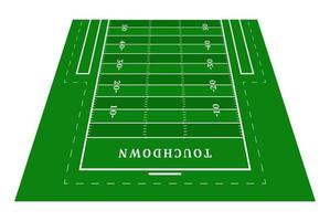 prospettiva metà campo verde football americano. vista frontale. campo da rugby con modello di linea. illustrazione vettoriale stadio.
