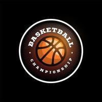 logo della lega di pallacanestro di vettore con la palla. distintivo sportivo di colore arancione per campionato o campionato di torneo