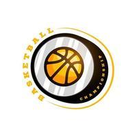logo della lega di pallacanestro di vettore con la palla. distintivo sportivo di colore giallo per campionato o campionato di torneo