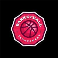 logo della lega di pallacanestro di vettore con la palla. distintivo sportivo di colore rosa per campionato o campionato del torneo