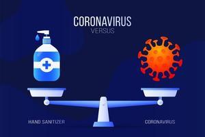 illustrazione vettoriale di coronavirus o disinfettante per le mani. concetto creativo di scale e versus, su un lato della bilancia si trova un virus covid-19 e sull'altro l'icona di disinfettante. illustrazione vettoriale piatta.